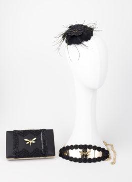 conjunto de complementos para invitada negro con insectos