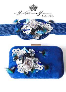conjunto bolso y cinturón azul